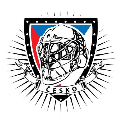 ice hockey helmet on shield with czech rebublic color Illusztráció