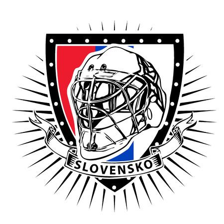 Ice hockey helmet on shield with slovakia color
