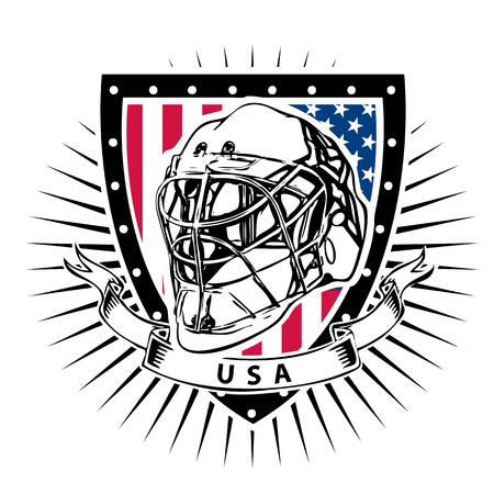 ice hockey helmet illustration on the shield with usa flag Illusztráció