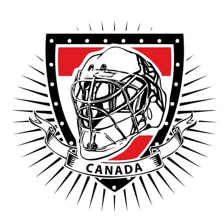 ice hockey helmet illustration on the shield with canada flag