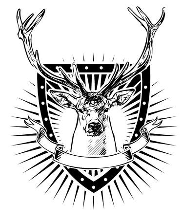 deer illustration on the shield Illusztráció