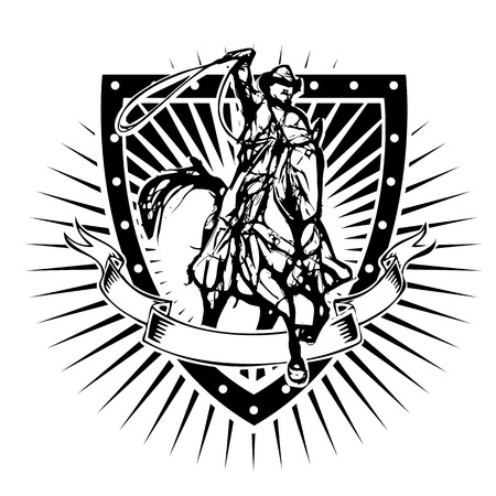 cowboy illustration on the shield