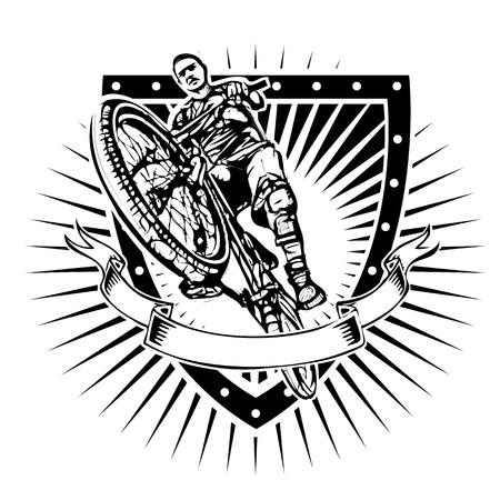 biker illustration on the shield Illusztráció