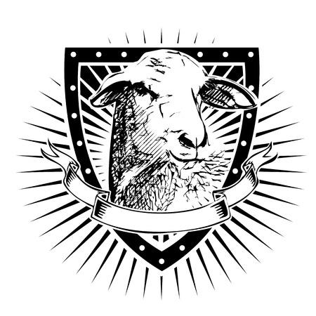 sheep illustration shield  イラスト・ベクター素材