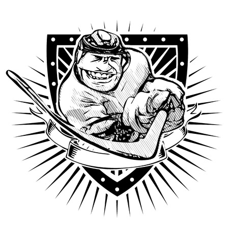 funny ice hockey player on the shield