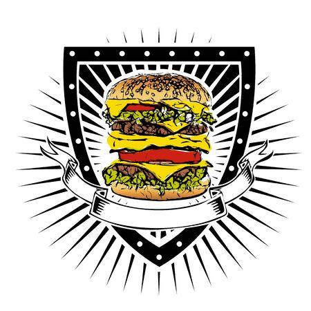 doubleburger on the shield Illusztráció