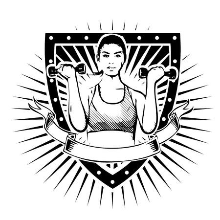 dumbell: fitness donna sullo scudo