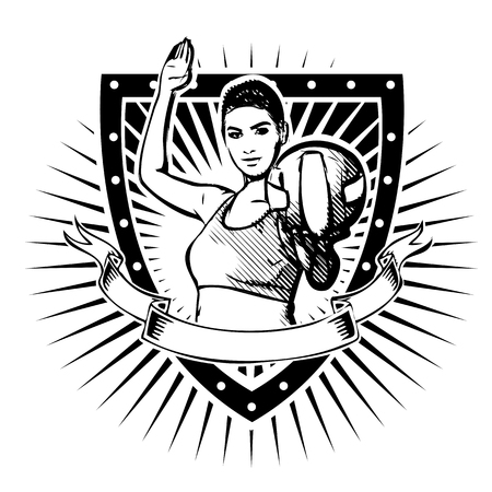 woman volleyball player on the shield