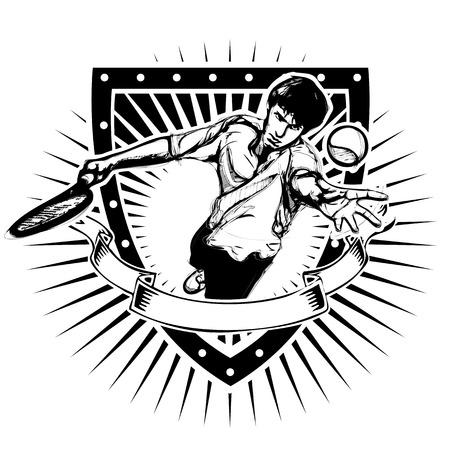 tennis player on the shield Illusztráció