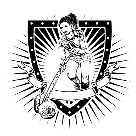 female athlete: field hockey player on the shield