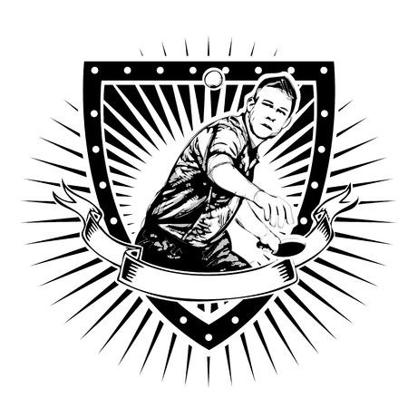 pingpong: jugador de tenis de mesa en el escudo