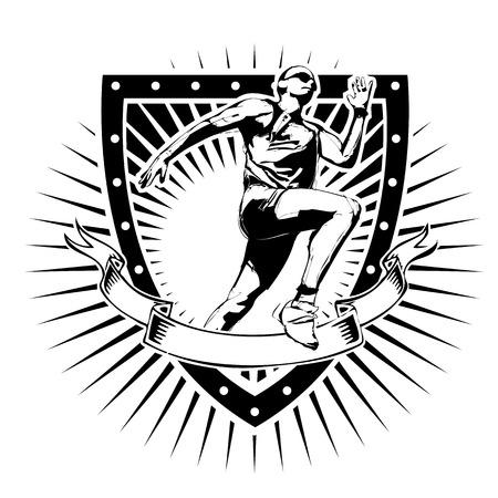 crouching: runner illustration on the shield