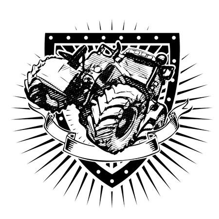 シールドの農業用トラクター  イラスト・ベクター素材