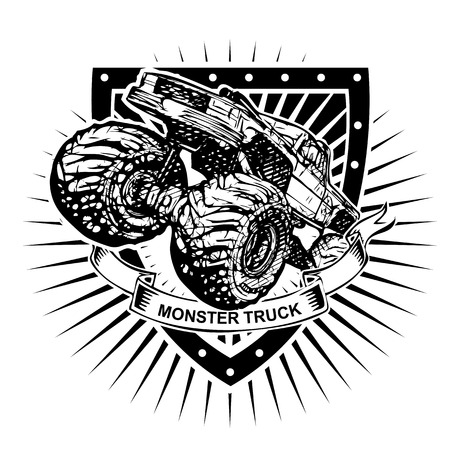 monster truck illustration on the shield Vector