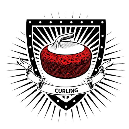 curling: curling stone on the shield Illustration