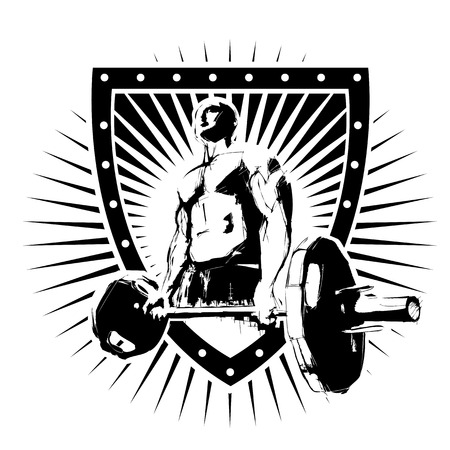 shield logo: bodybuilder on the shield
