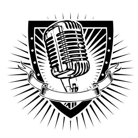 micrófono en el escudo Ilustración de vector