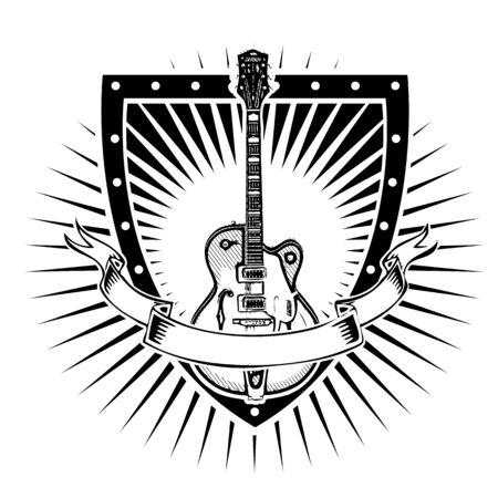 guitar illustration on the shield