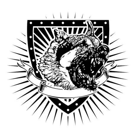 german shepherd: angry german shepherd on the shield Illustration