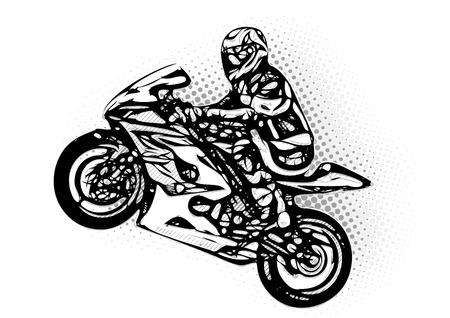 motor race: motorcycle racer vector illustratie Stock Illustratie