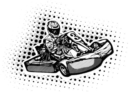 Go Kart Racer on white Background 向量圖像