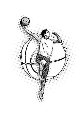 Basketball player on the basketball ball illustration Illusztráció