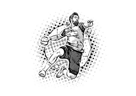 handball player on the handball ball illustration