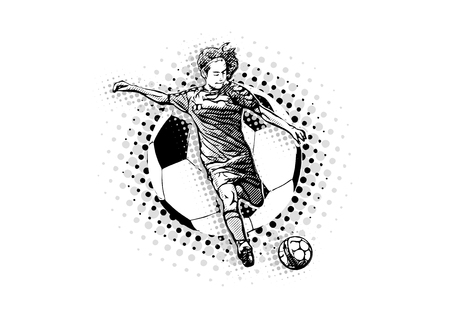 woman soccer player on the handball ball illustration Stock Illustratie