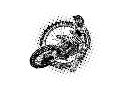 Motorcross rijder vectorillustratie op het motorcross wiel