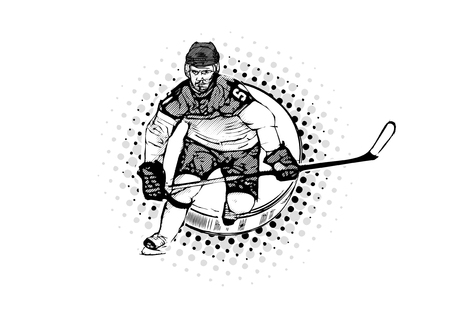 Ice hockey player vector illustration on the puck illustration