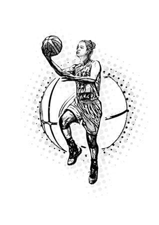 Woman Basketball Player on the Basketball Ball Illustration