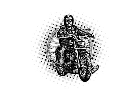 Moto rider vector illustration on the wheel