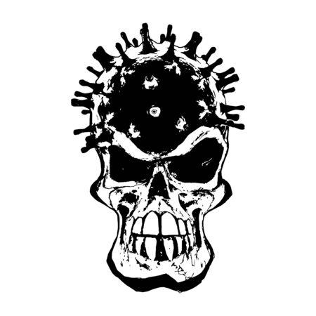 Coronavirus Skull vector Illustration on white Background