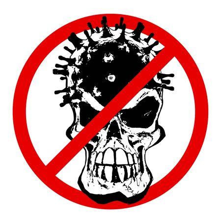 STOP Coronavirus Skull on white Background