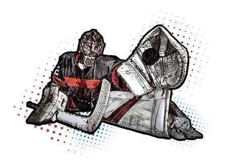 Ice hockey goalkeeper illustration isolated on the white background
