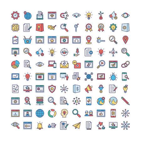 Web and SEO Vector icons set every single icon can easily modify or edit Ilustración de vector