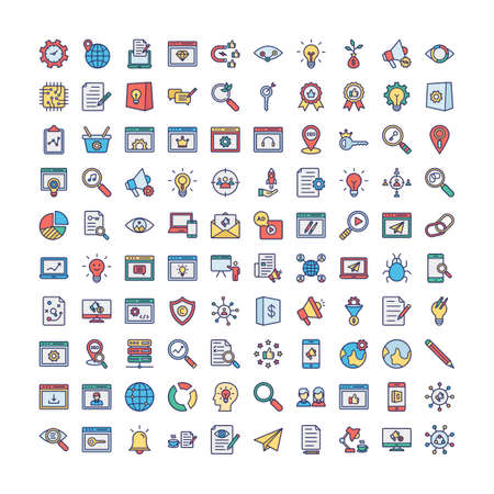 Web and SEO Vector icons set every single icon can easily modify or edit Vektorové ilustrace