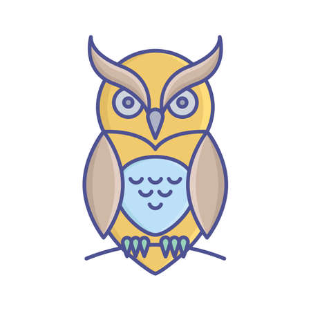 Evil owl fill inside vector icon which can easily modify or edit