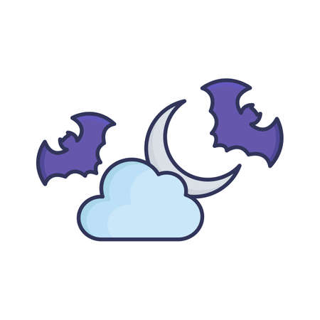 Spooky bat fill inside vector icon which can easily modify or edit