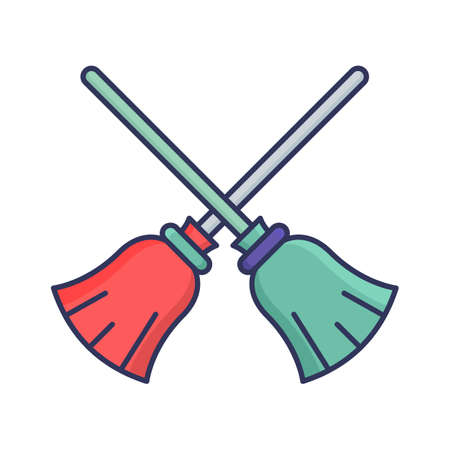 Flying broom fill inside vector icon which can easily modify or edit