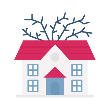Haunted house flat vector icon which can easily modify or edit