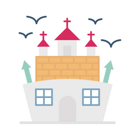 Abandoned house flat vector icon which can easily modify or edit