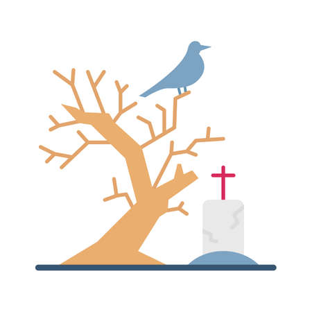 Scary Graveyard Flat  flat vector icon which can easily modify or edit 일러스트