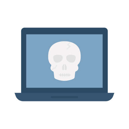 Infected computer flat vector icon which can easily modify or edit