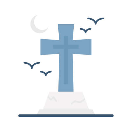 Spooky gravestone flat vector icon which can easily modify or edit 일러스트