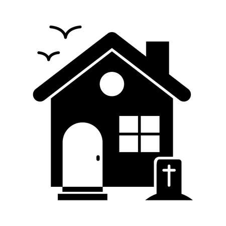 Halloween home flat vector icon which can easily modify or edit