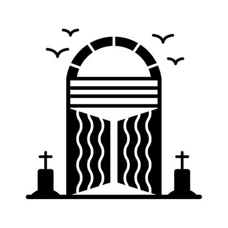 Halloween gate flat vector icon which can easily modify or edit