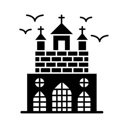 Haunted mansion flat vector icon which can easily modify or edit