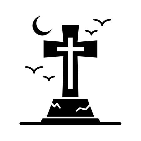 Spooky gravestone flat vector icon which can easily modify or edit Иллюстрация