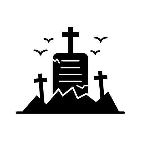 graveyard stone flat vector icon which can easily modify or edit Иллюстрация